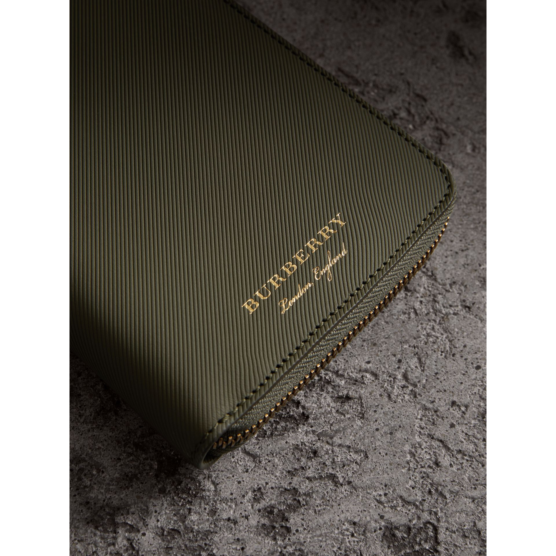 Trench Leather Ziparound Wallet in Slate Green - Men | Burberry United States - gallery image 1