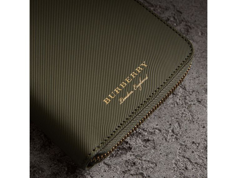 Trench Leather Ziparound Wallet in Slate Green - Men | Burberry United States - cell image 1