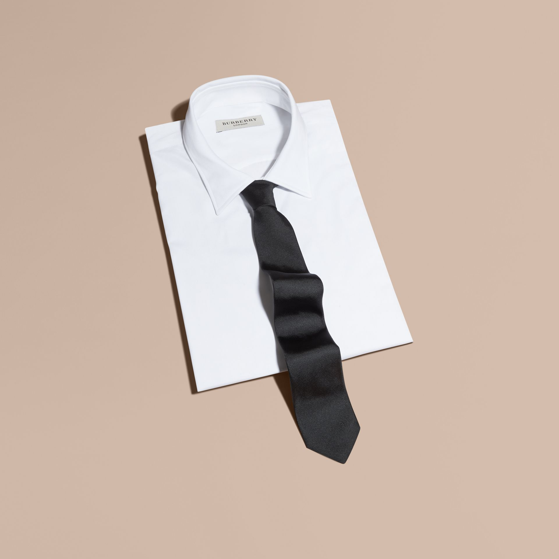 Black Slim Cut Silk Twill Tie Black - gallery image 1