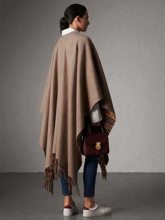 Reversible Vintage Check Cashmere Wool Poncho in Sandstone - Women | Burberry - cell image 2