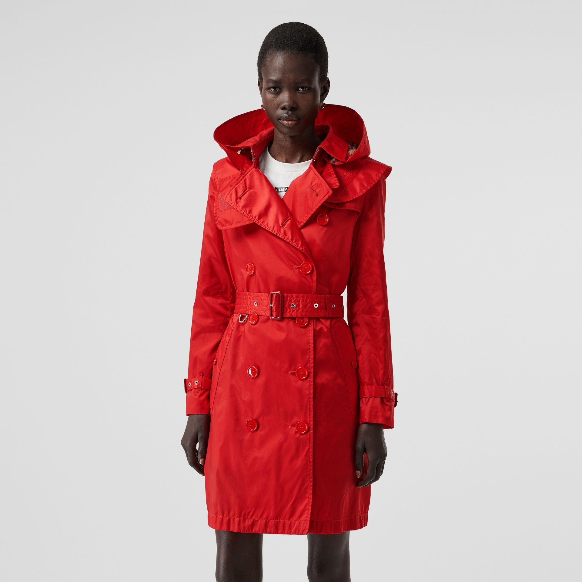 Detachable Hood ECONYL® Trench Coat in Bright Red - Women | Burberry - gallery image 0