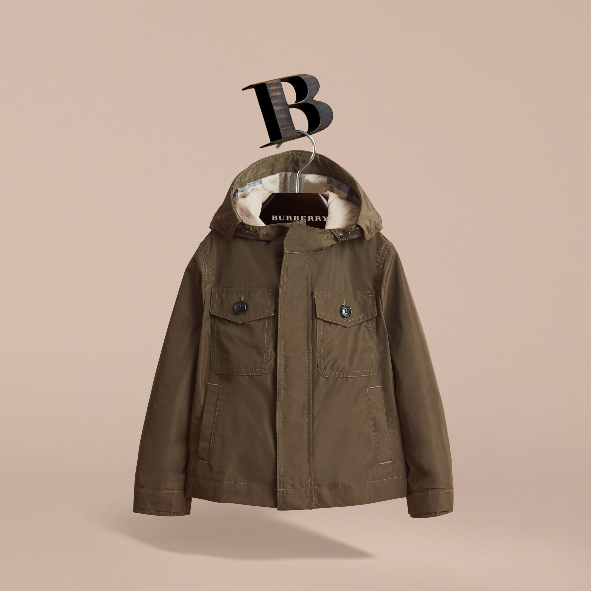 Hooded Field Jacket in Khaki - Boy | Burberry - gallery image 3