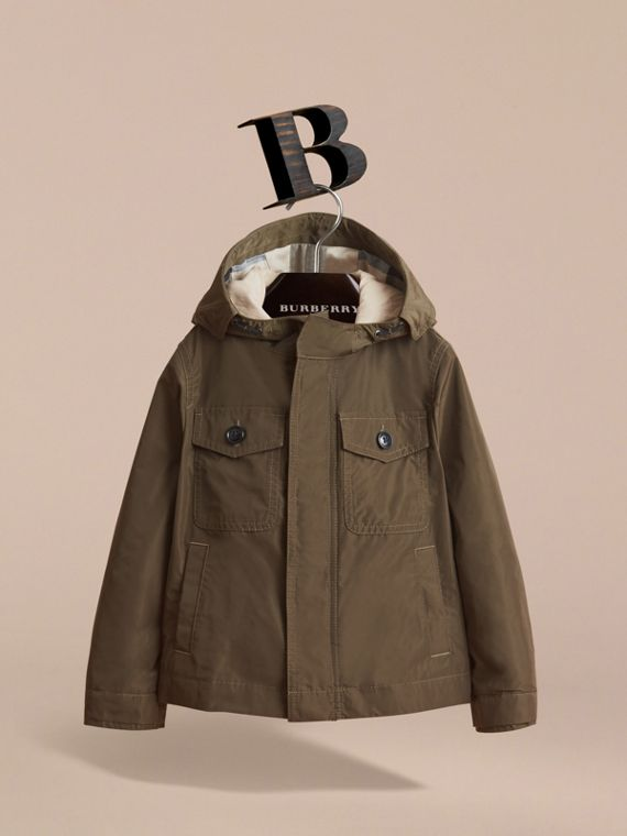 Hooded Field Jacket in Khaki - Boy | Burberry - cell image 2