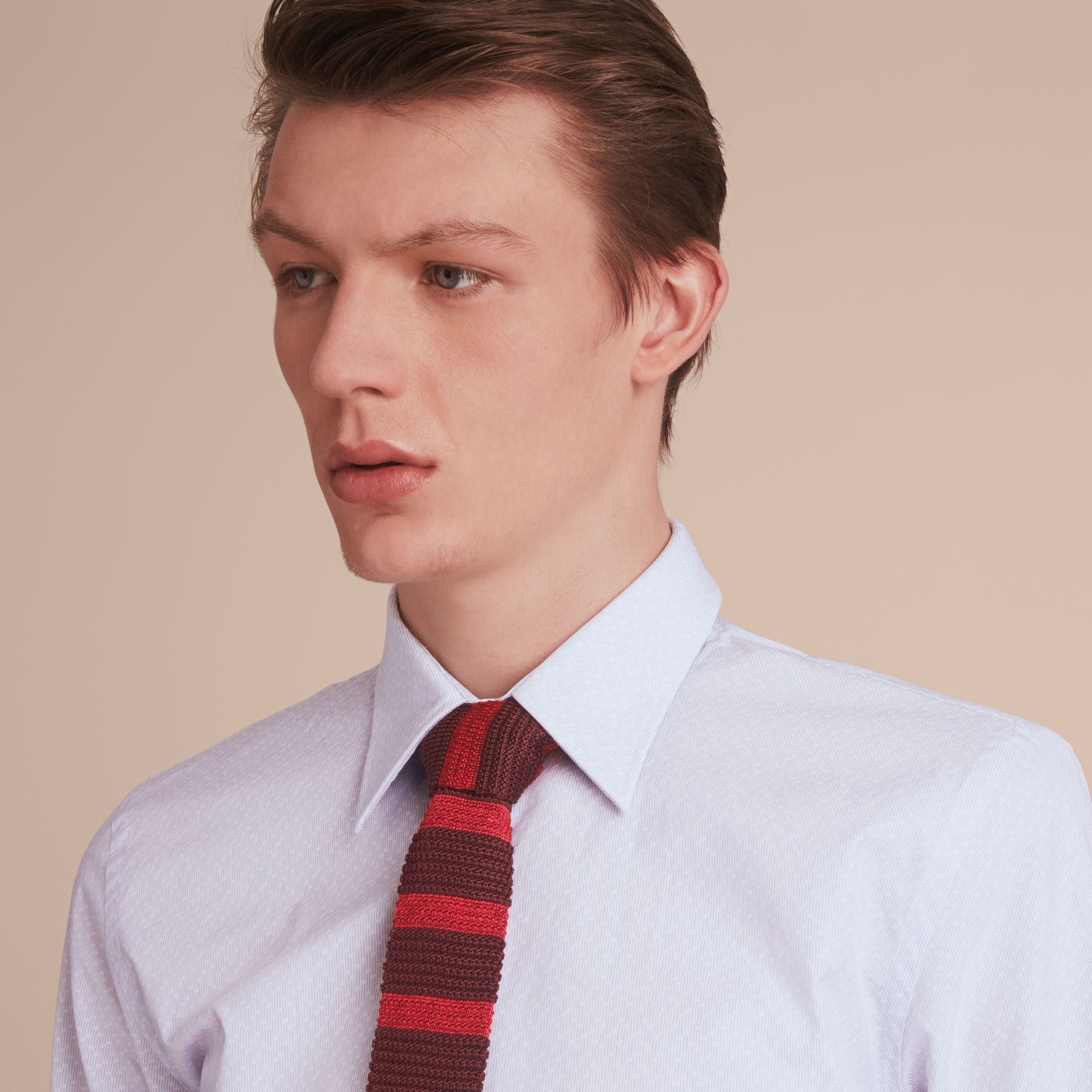 Slim Fit Striped Geometric Dobby Cotton Shirt in Pale Sky Blue - Men | Burberry - gallery image 5