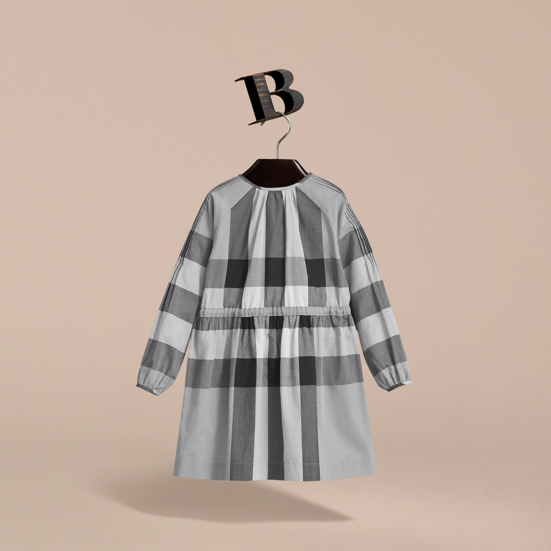Collarless Check Drawcord Cotton Voile Dress in Pale Stone Blue - Girl | Burberry - gallery image 4