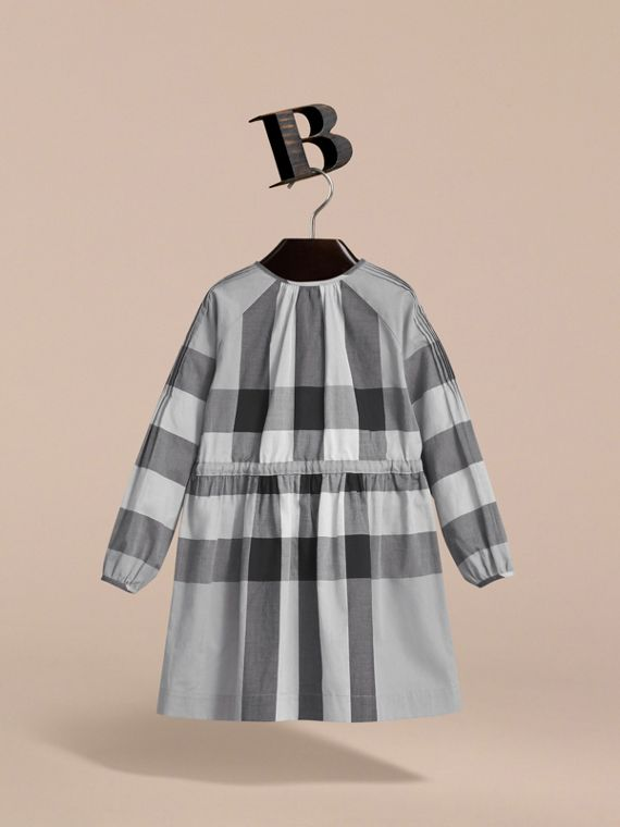 Collarless Check Drawcord Cotton Voile Dress in Pale Stone Blue - Girl | Burberry - cell image 3