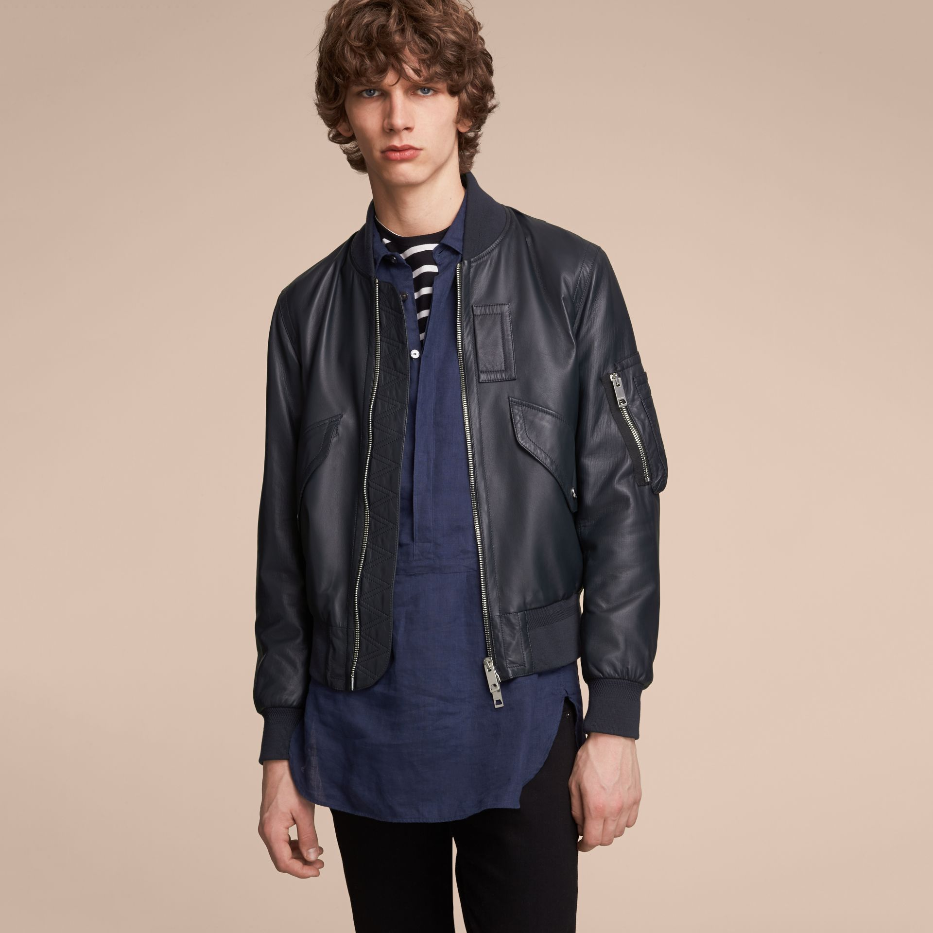 Lambskin Bomber Jacket in Navy - Men | Burberry - gallery image 6
