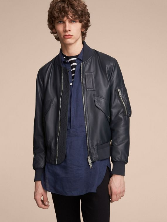 Lambskin Bomber Jacket in Navy