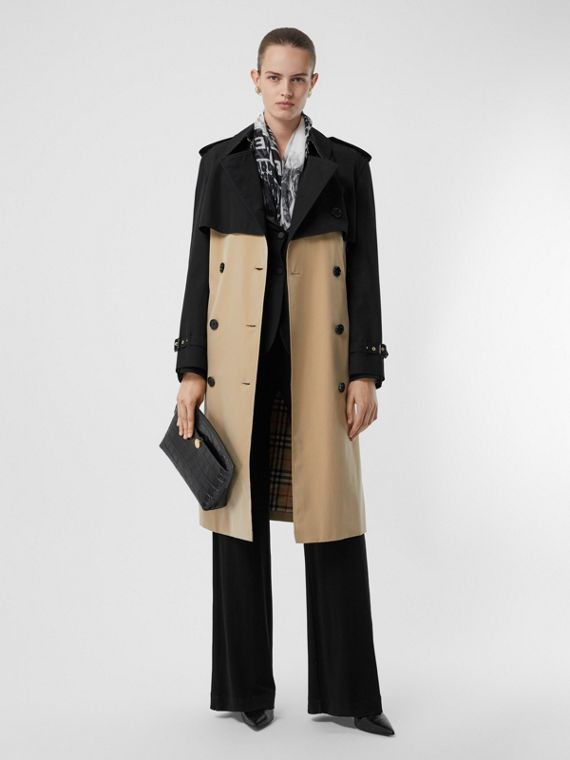 Two-tone Reconstructed Trench Coat in Black
