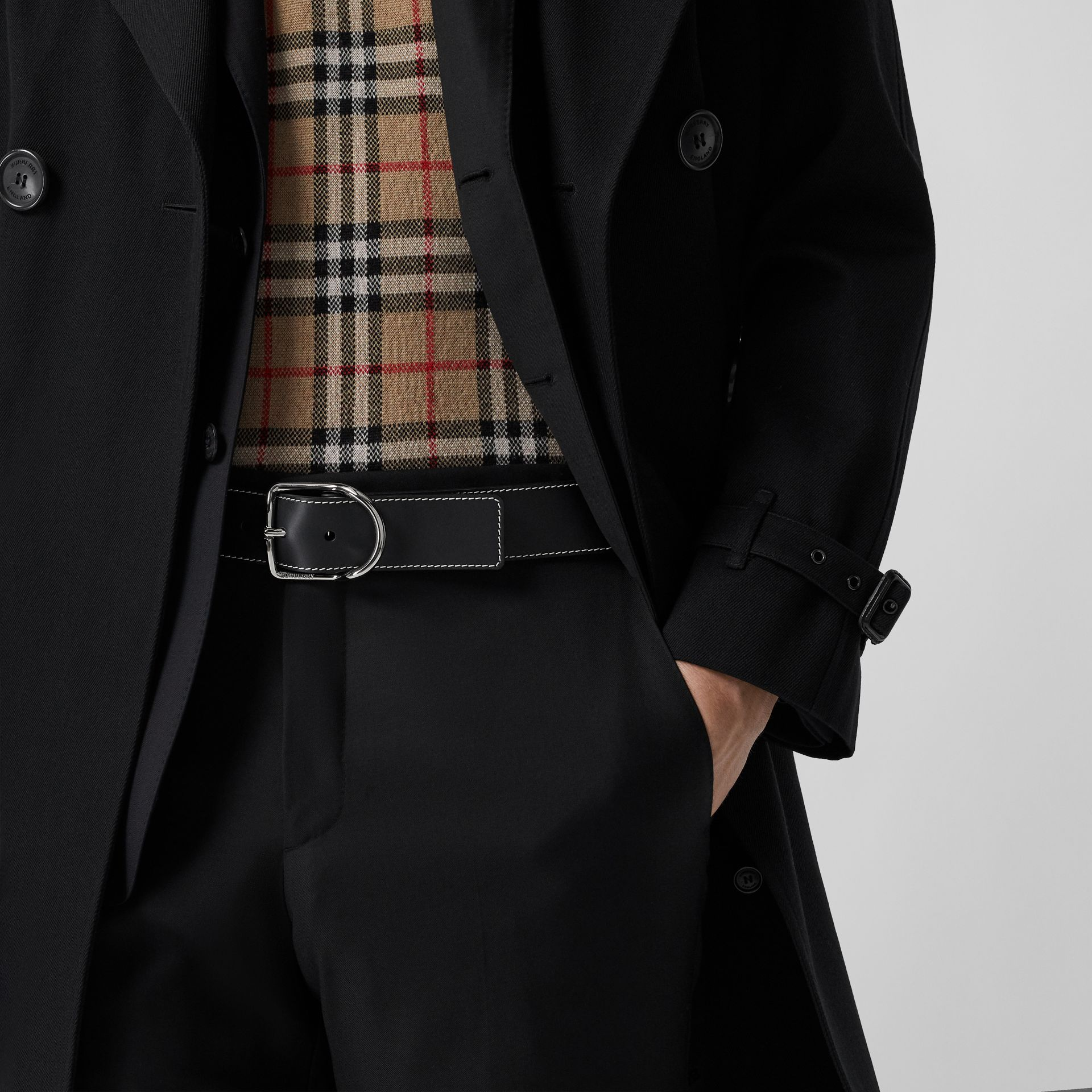 Topstitch Detail Leather Belt in Black - Men | Burberry - gallery image 2