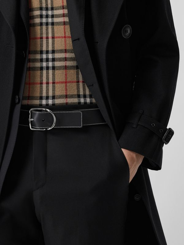 Topstitch Detail Leather Belt in Black - Men | Burberry Australia - cell image 2