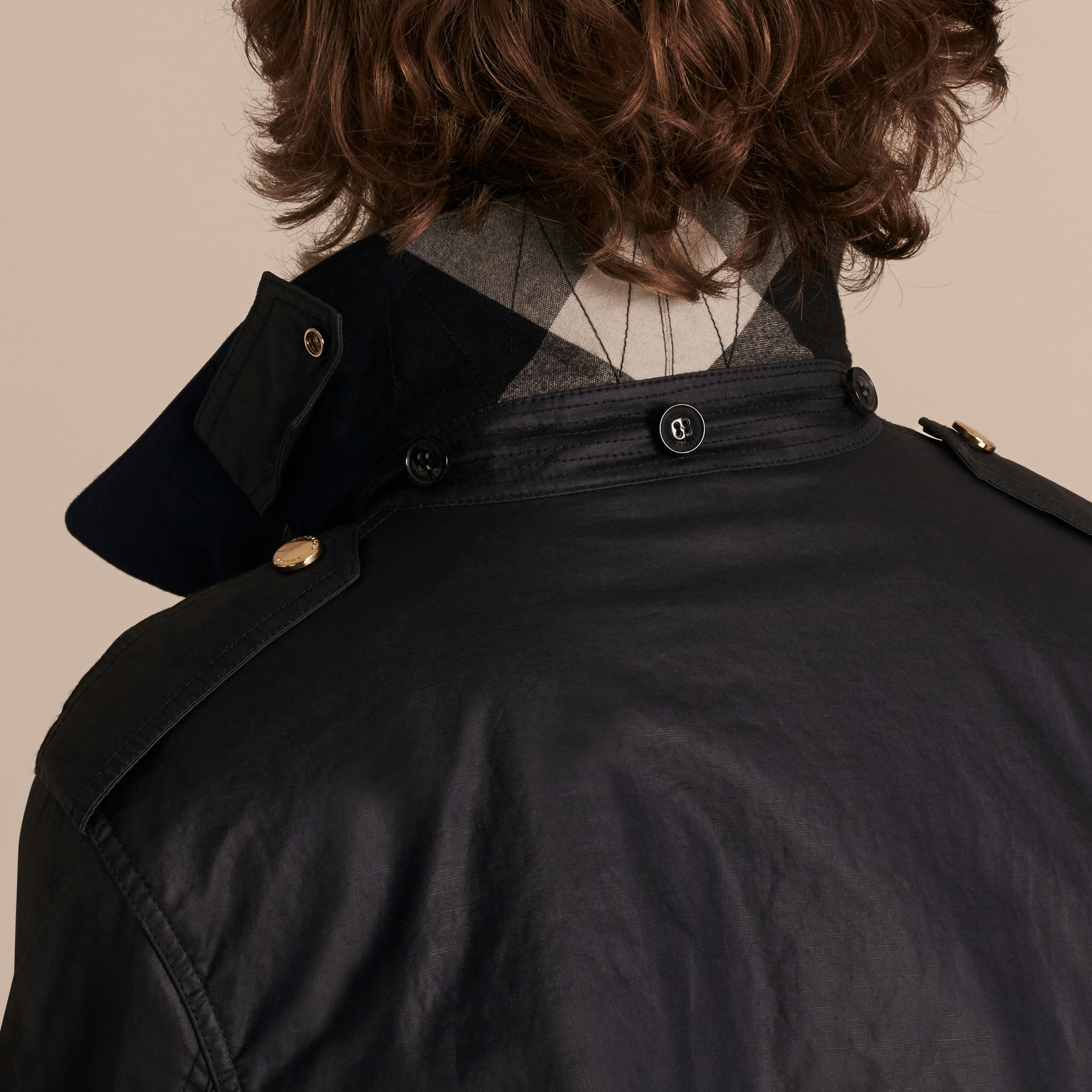 Dark navy Hooded Waxed Cotton Linen Jacket with Detachable Warmer - gallery image 6