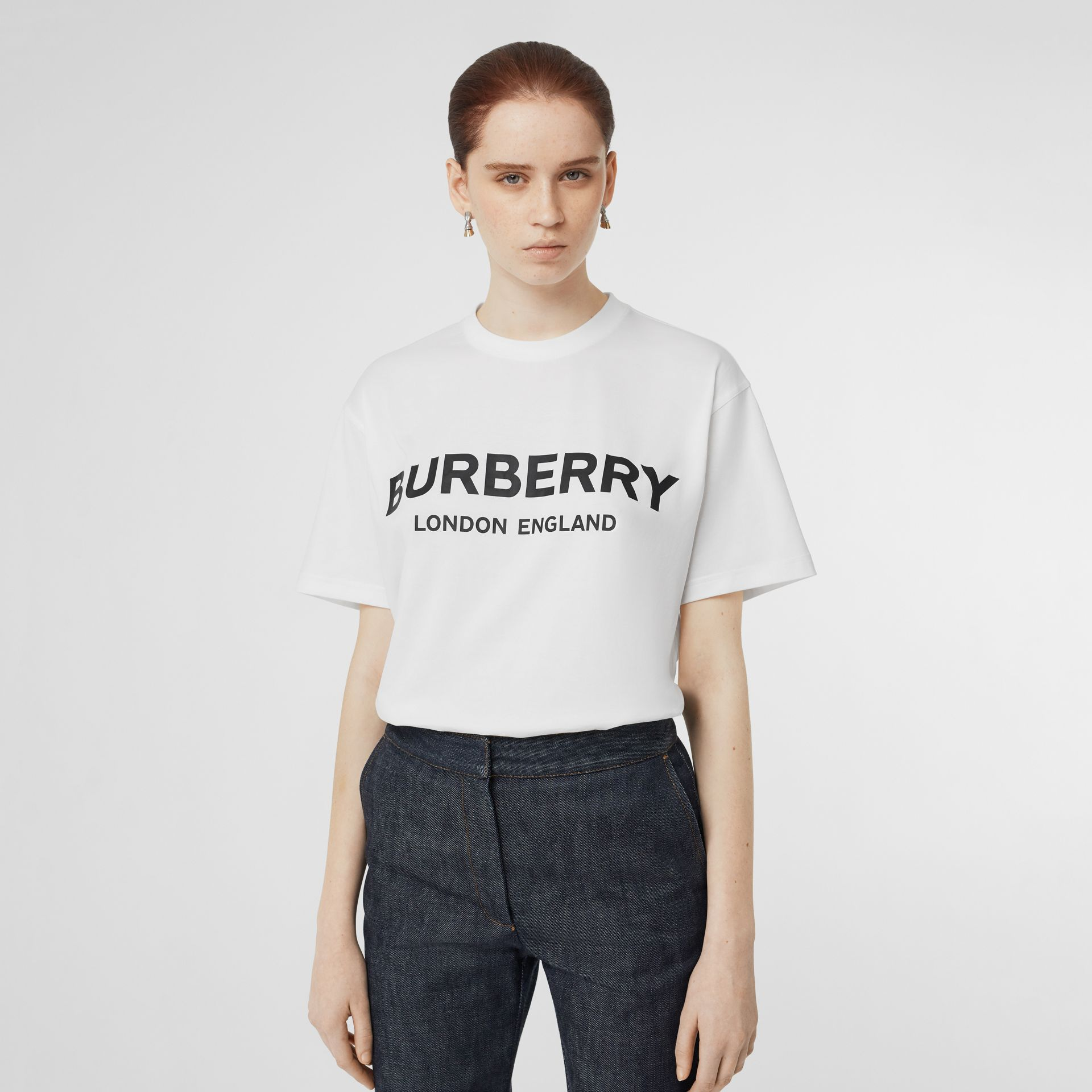 Logo Print Cotton Oversized T-shirt in White - Women | Burberry - gallery image 4