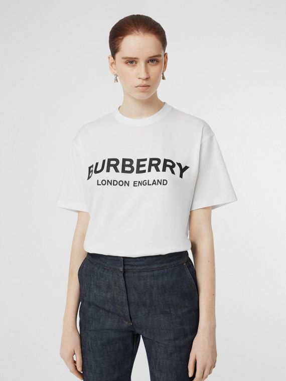 Logo Print Cotton Oversized T-shirt in White