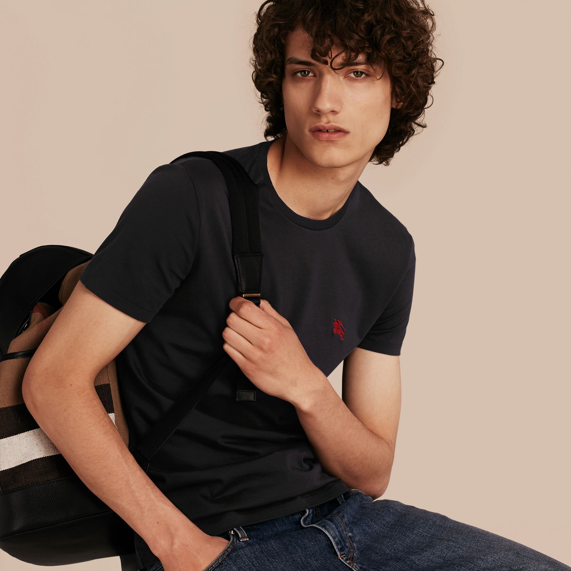 Cotton Jersey T-shirt in Black - Men | Burberry - gallery image 5