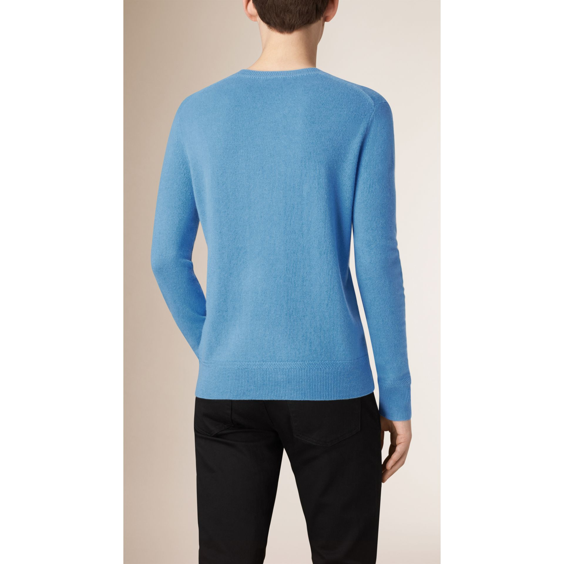 Crew Neck Cashmere Sweater Pale Blue - gallery image 2