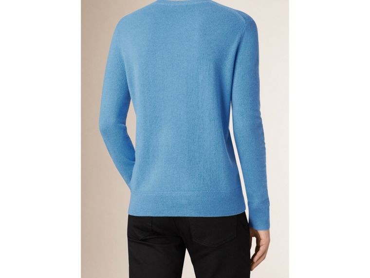 Crew Neck Cashmere Sweater in Pale Blue - Men | Burberry - cell image 1