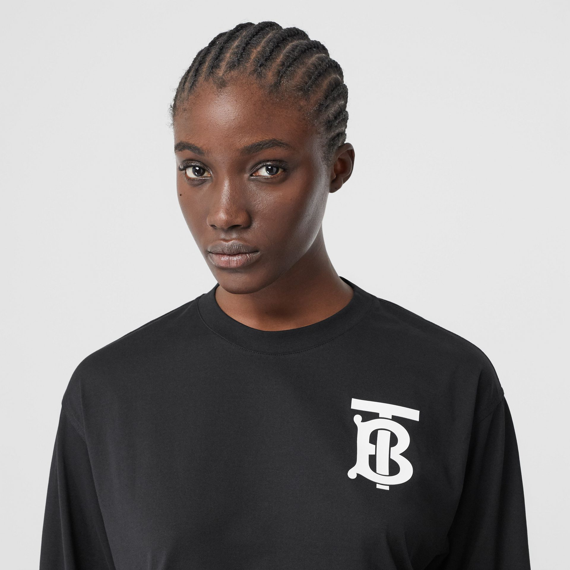 Long-sleeve Monogram Motif Cotton Top in Black - Women | Burberry - gallery image 1