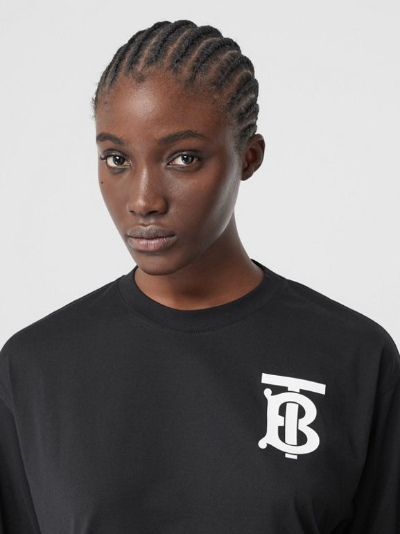 Long-sleeve Monogram Motif Cotton Top in Black - Women | Burberry - cell image 1