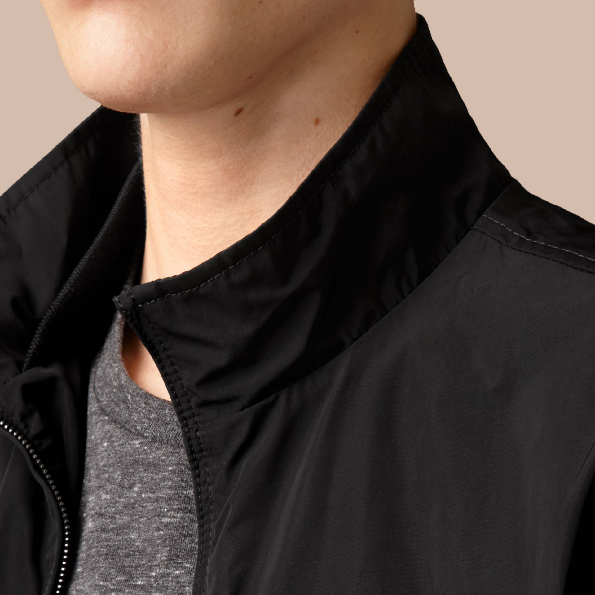 Black Zip Front Packaway Jacket Black - gallery image 2