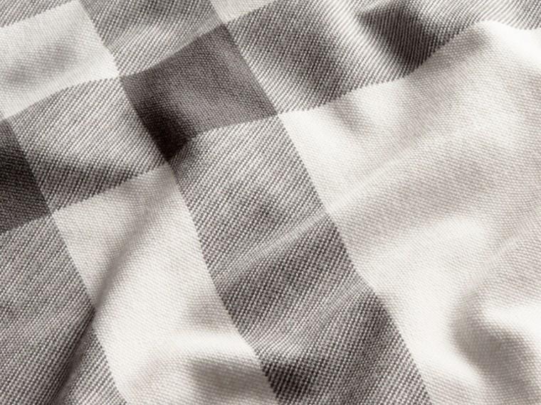 Bianco Polo in cotone piqué stretch con motivo check Bianco - cell image 1