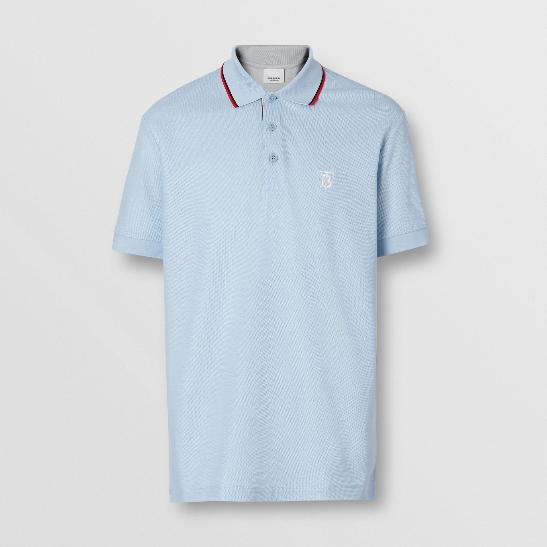 Icon Stripe Placket Cotton Piqué Polo Shirt in Pale Blue - Men | Burberry - gallery image 3