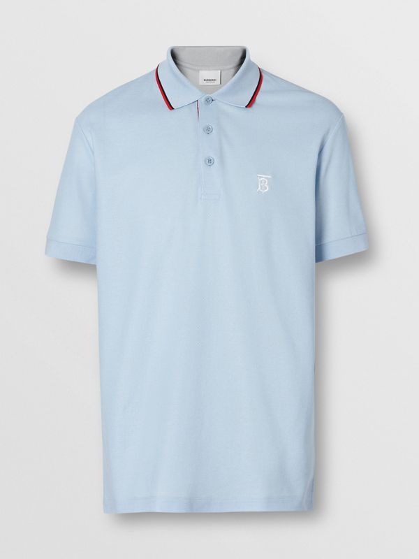 Icon Stripe Placket Cotton Piqué Polo Shirt in Pale Blue - Men | Burberry United States - cell image 3