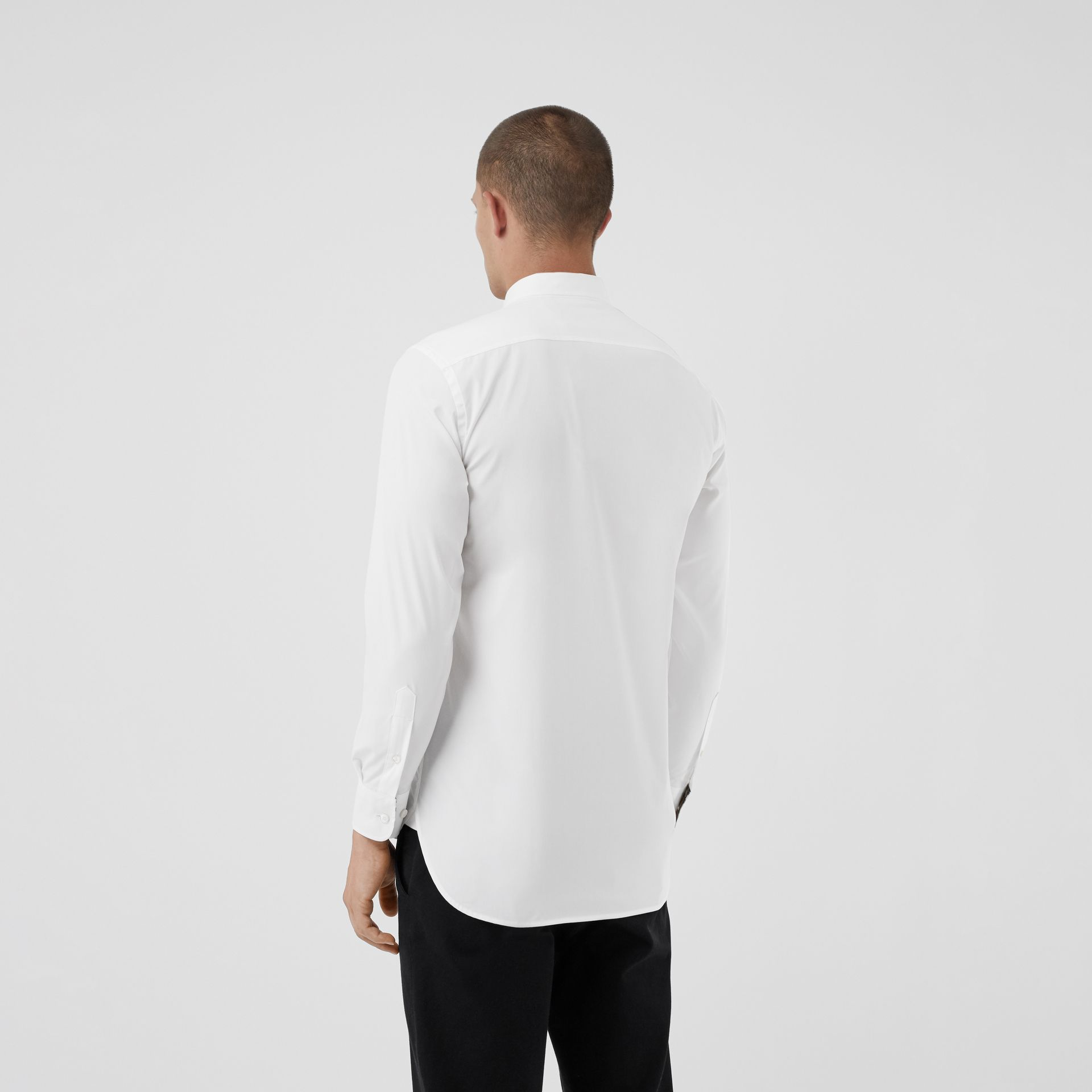 Check Cuff Stretch Cotton Poplin Shirt in White - Men | Burberry - gallery image 2