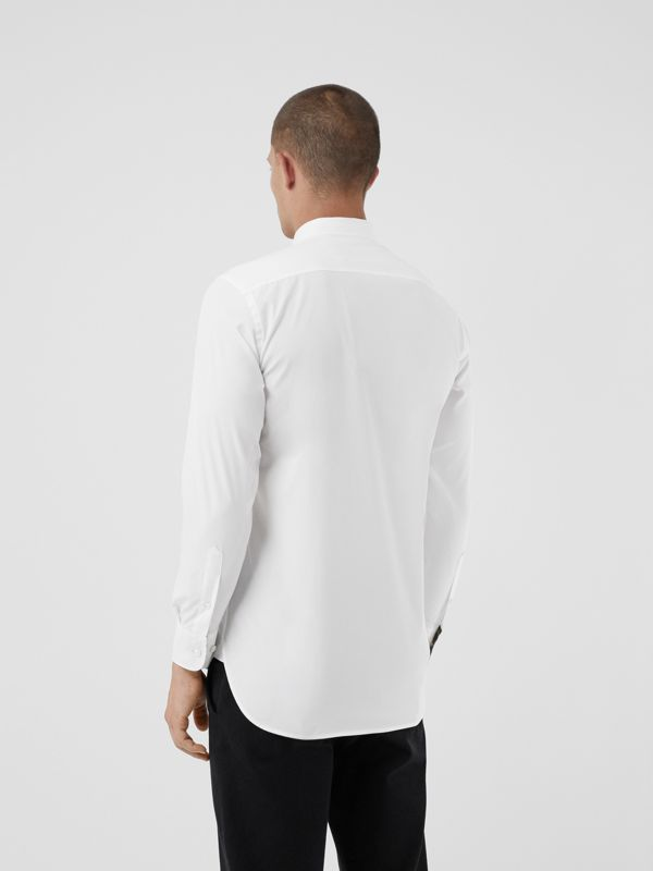 Check Cuff Stretch Cotton Poplin Shirt in White - Men | Burberry Australia - cell image 2