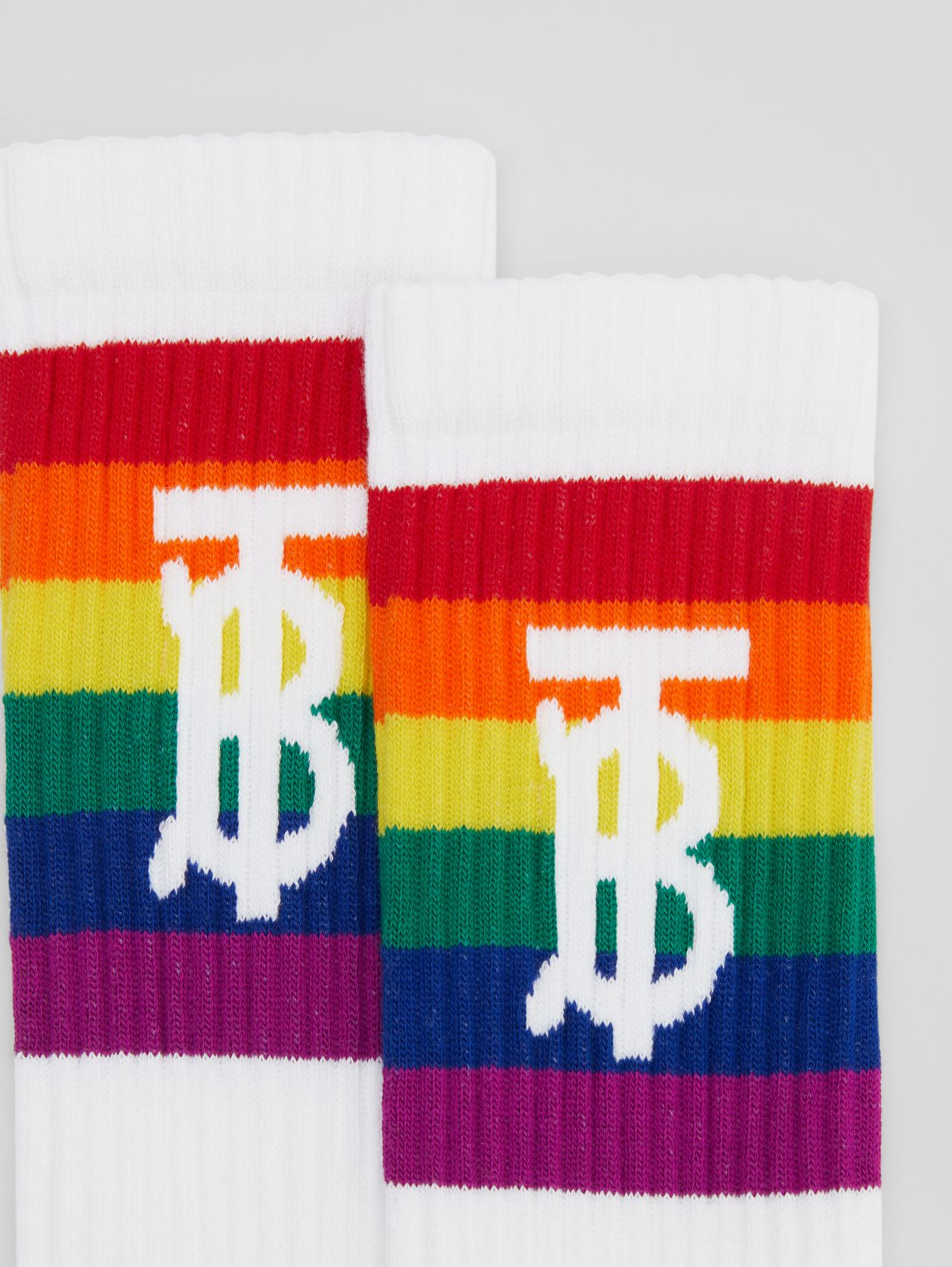 Monogram Motif Intarsia Socks in Rainbow