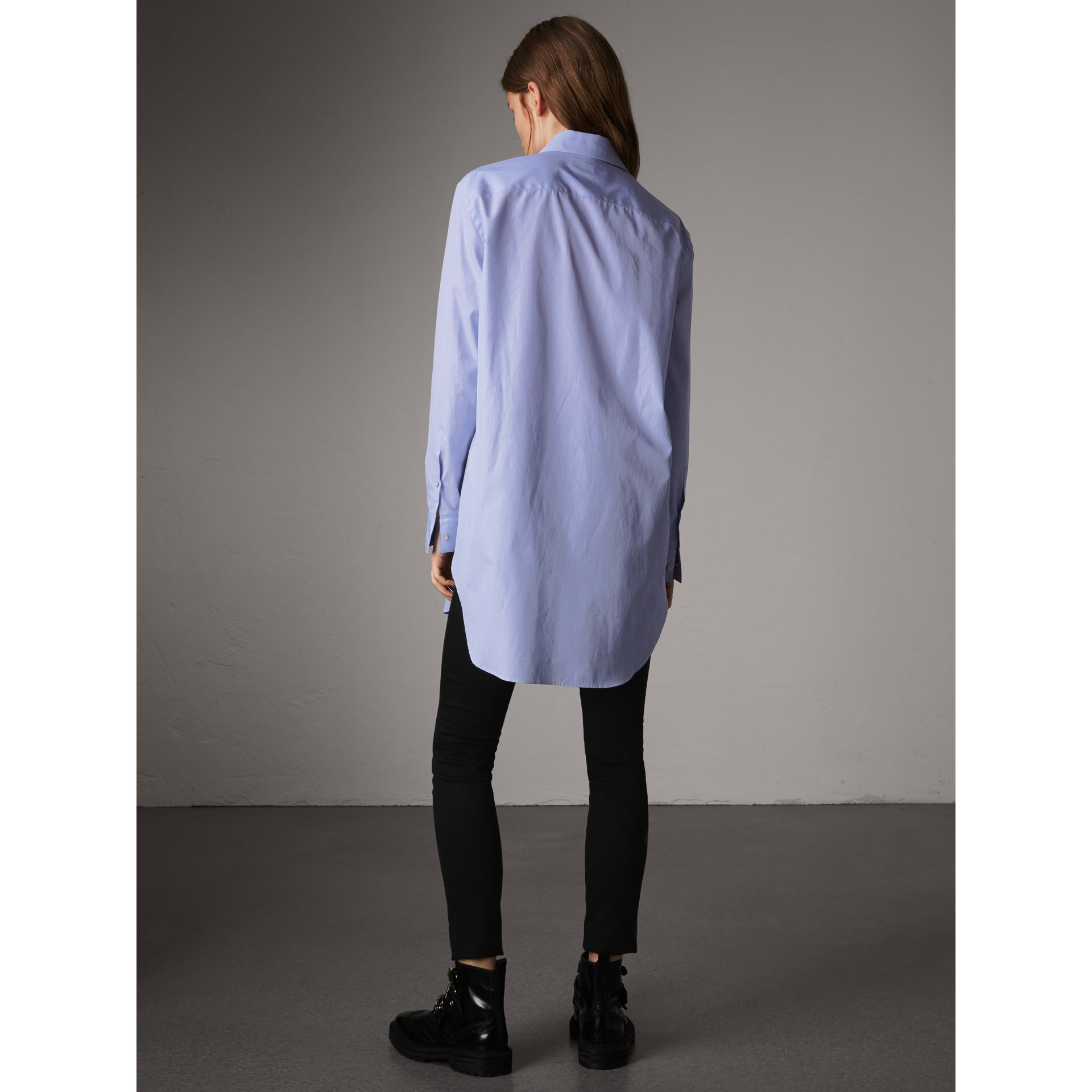 Double Pocket Cotton Oversize Shirt in Pale Blue - Women | Burberry United Kingdom - gallery image 3