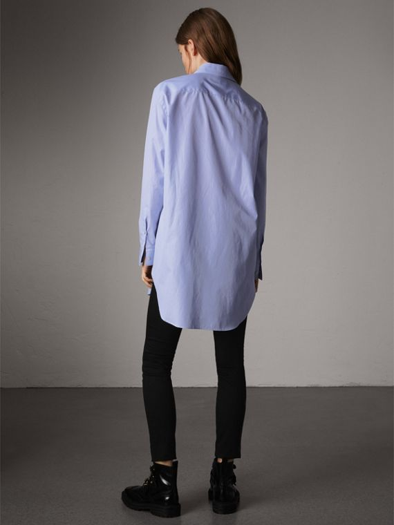 Double Pocket Cotton Oversize Shirt in Pale Blue - Women | Burberry - cell image 2