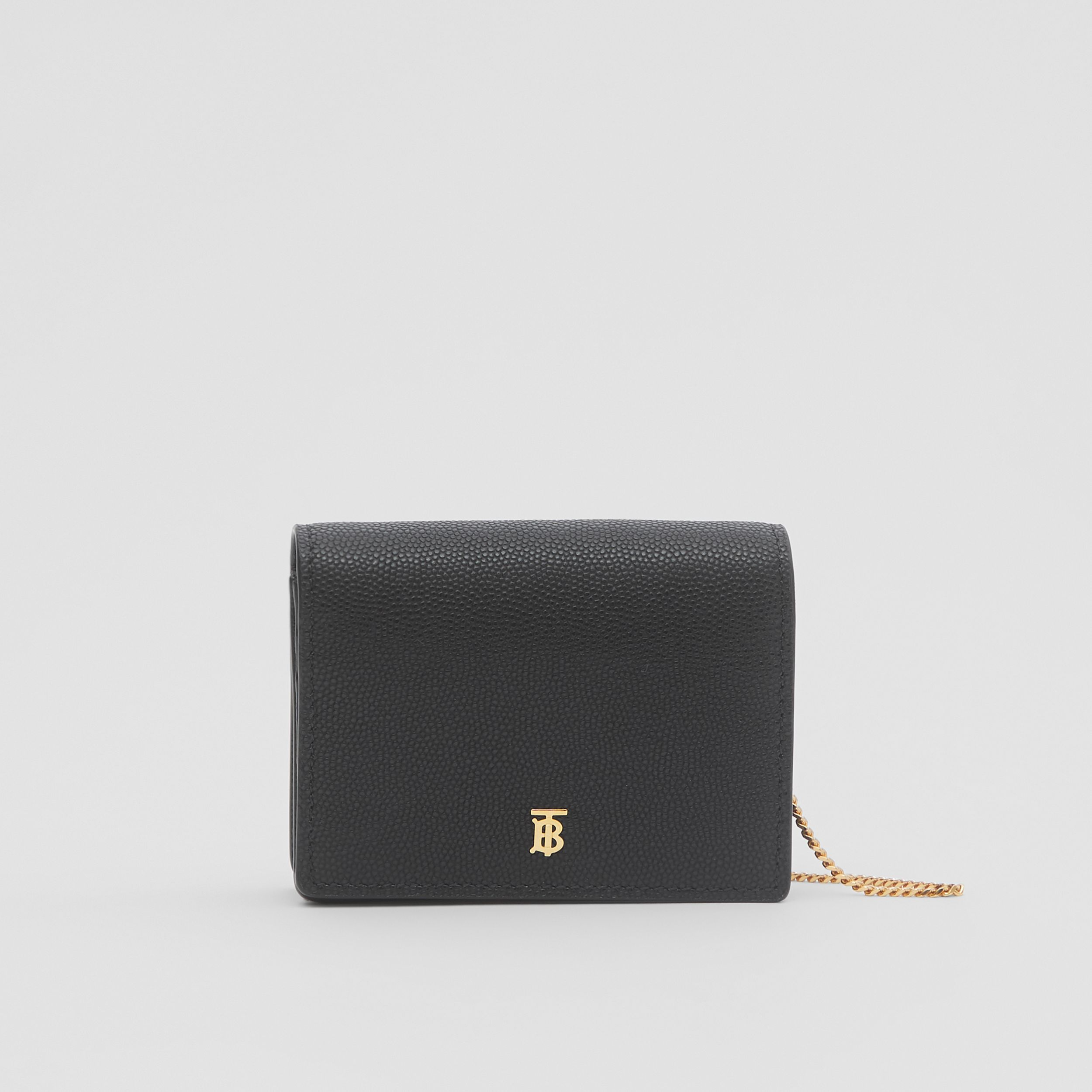 Grainy Leather Card Case with Detachable Strap in Black - Women | Burberry United Kingdom - 1