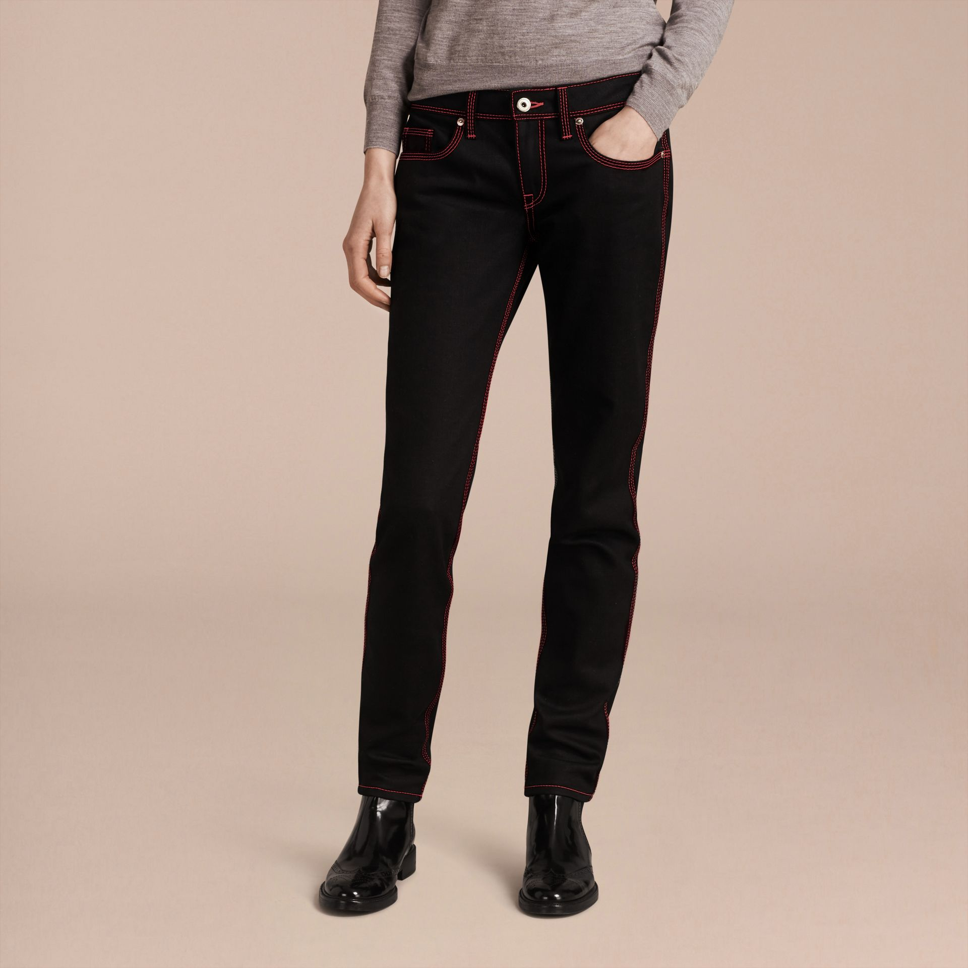 Black Skinny Fit Cropped Jeans with Topstitch Detail - gallery image 7