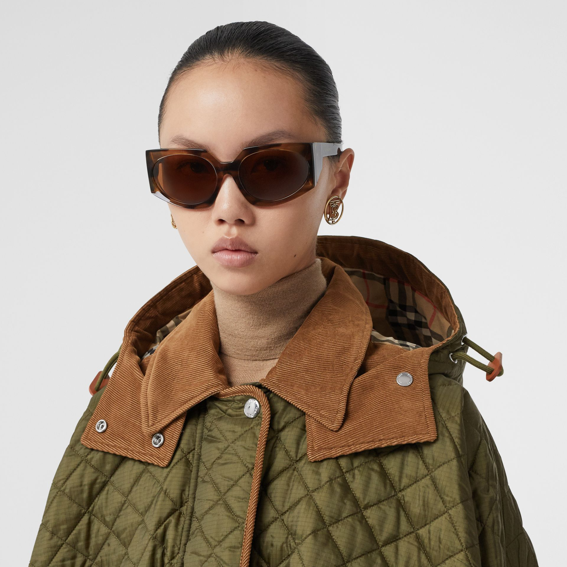 Corduroy Trim Quilted Hooded Cape in Military Olive - Women   Burberry United States - gallery image 1