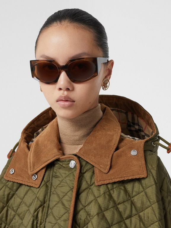 Corduroy Trim Quilted Hooded Cape in Military Olive - Women   Burberry United States - cell image 1