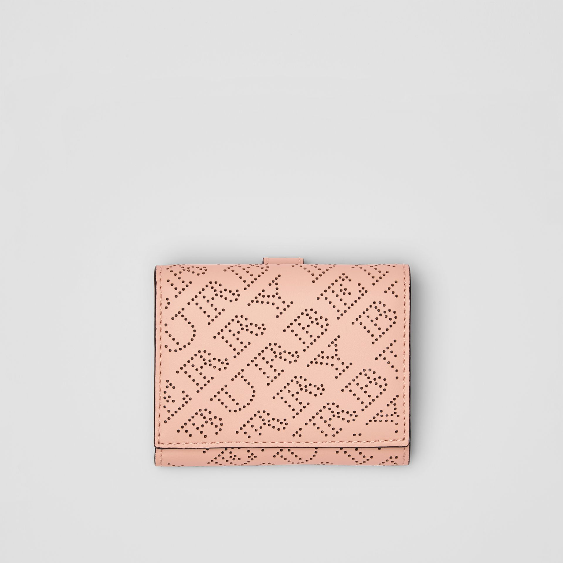 Small Perforated Logo Leather Wallet in Pale Fawn Pink - Women | Burberry Singapore - gallery image 0
