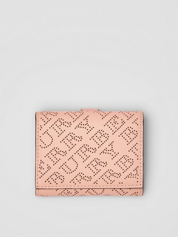 Small Perforated Logo Leather Wallet in Pale Fawn Pink