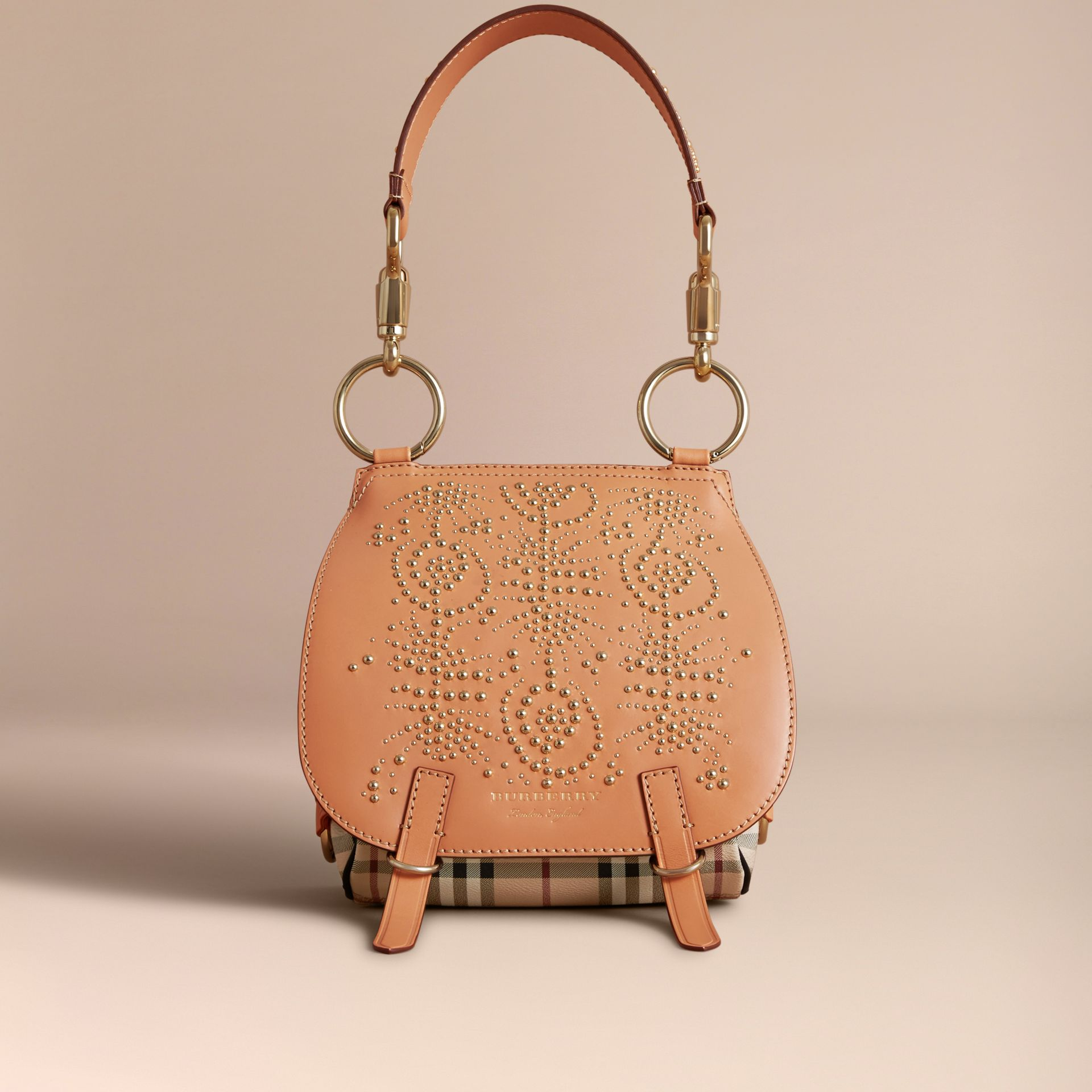 The Bridle Bag in Fruit and Flowers Riveted Leather Pale Clementine - gallery image 7