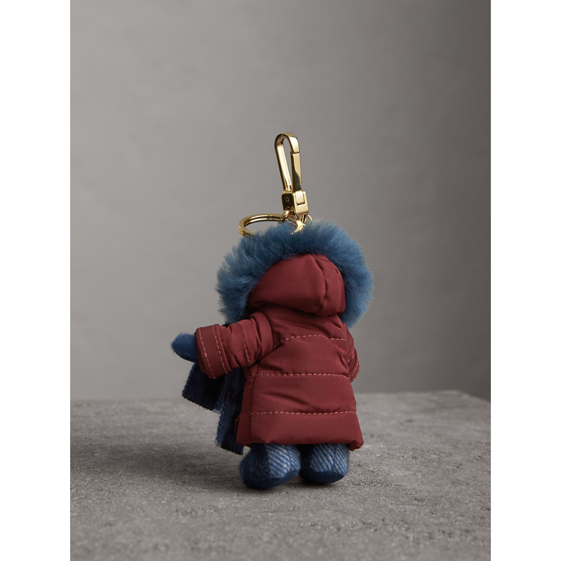 Thomas Bear Charm in Puffer Coat and Scarf in Cadet Blue - Women | Burberry - gallery image 4