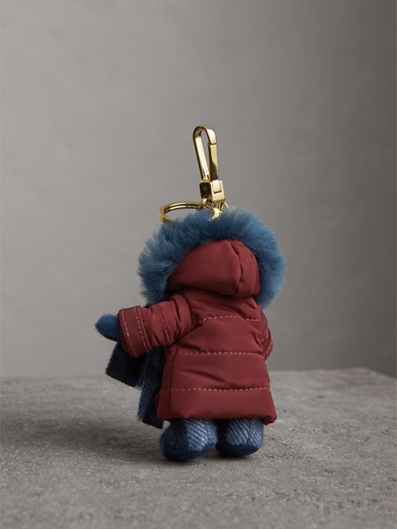 Thomas Bear Charm in Puffer Coat and Scarf in Cadet Blue - Women | Burberry - cell image 3