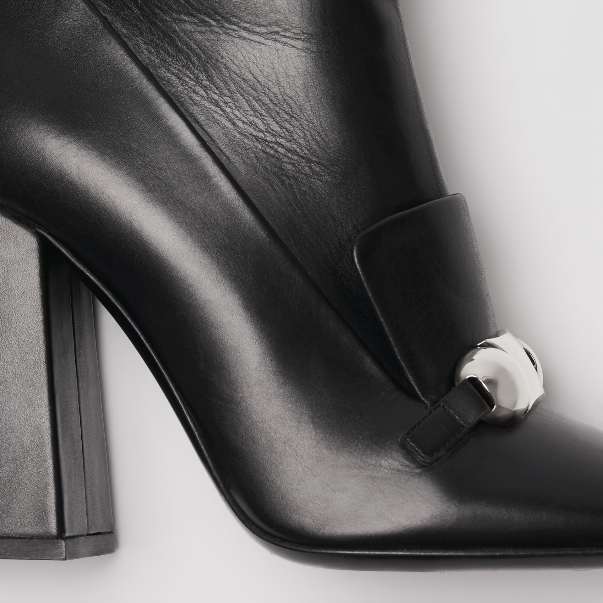 Studded Bar Detail Leather Ankle Boots in Black - Women | Burberry Canada - gallery image 1