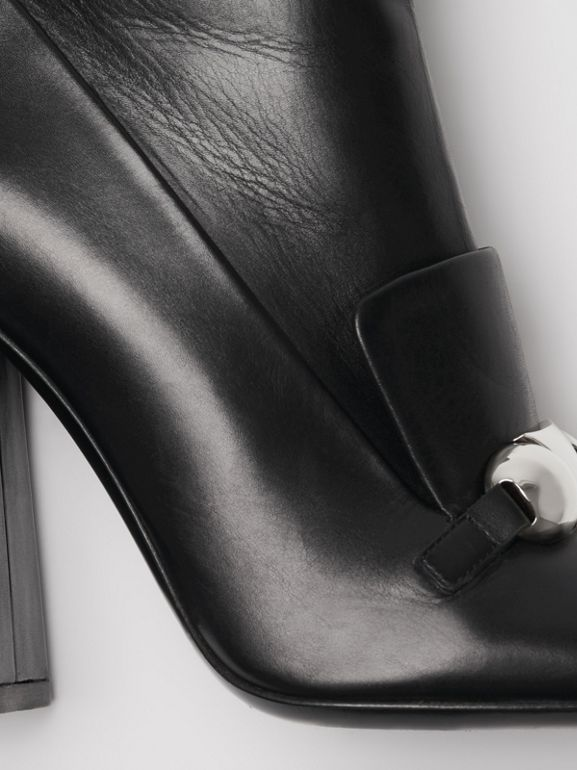 Studded Bar Detail Leather Ankle Boots in Black - Women | Burberry Singapore - cell image 1