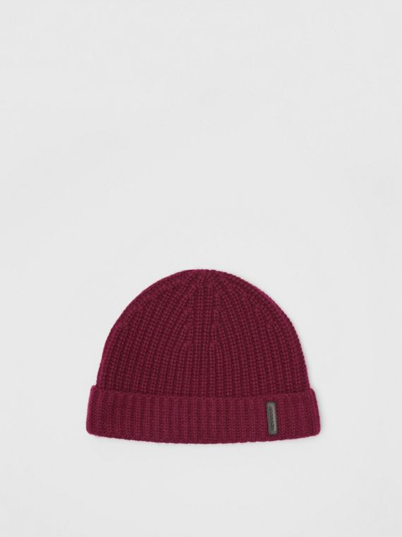 Rib Knit Cashmere Beanie in Dark Elderberry