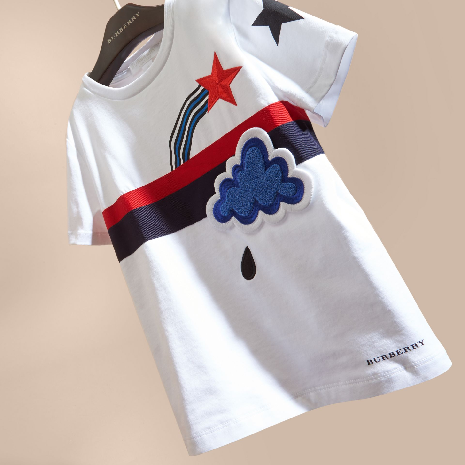 White Appliquéd Weather Graphic Cotton T-shirt - gallery image 3