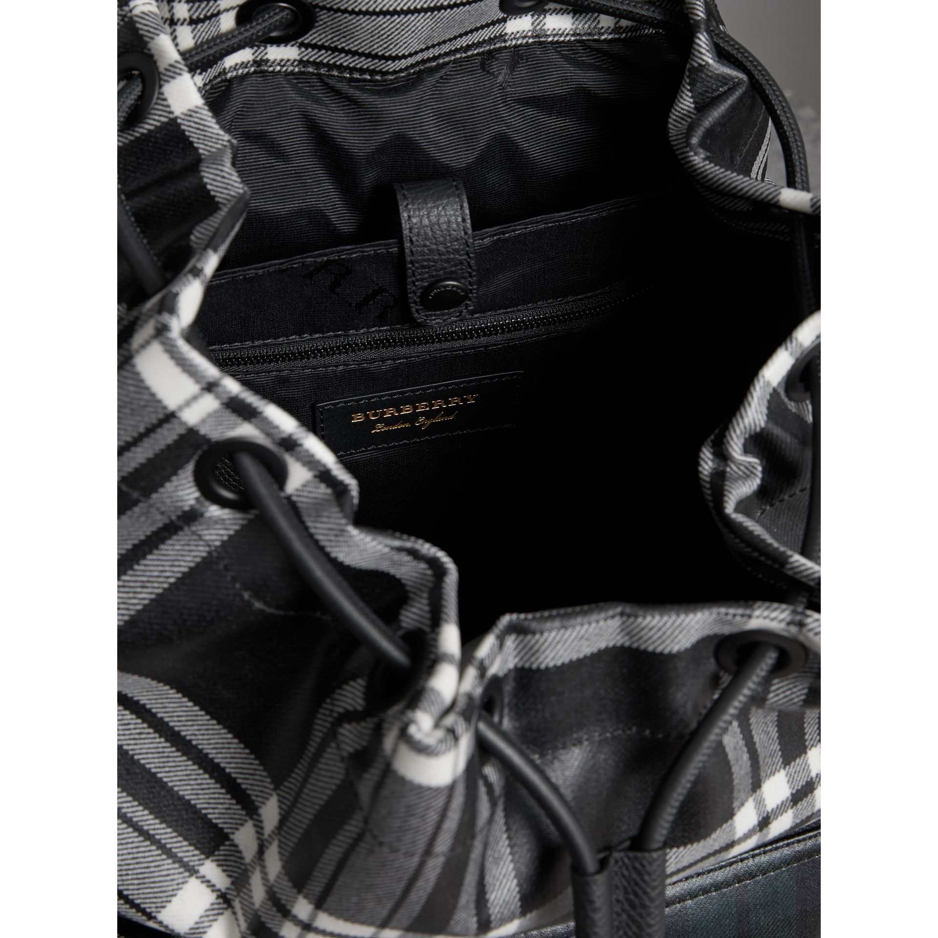 The Large Rucksack in Laminated Tartan in Black/white - Men | Burberry Singapore - gallery image 3