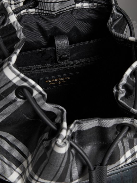 The Large Rucksack in Laminated Tartan in Black/white - Men | Burberry Singapore - cell image 3