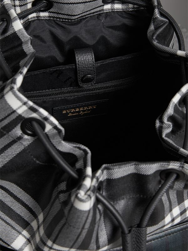 The Large Rucksack in Laminated Tartan in Black/white - Men | Burberry - cell image 3