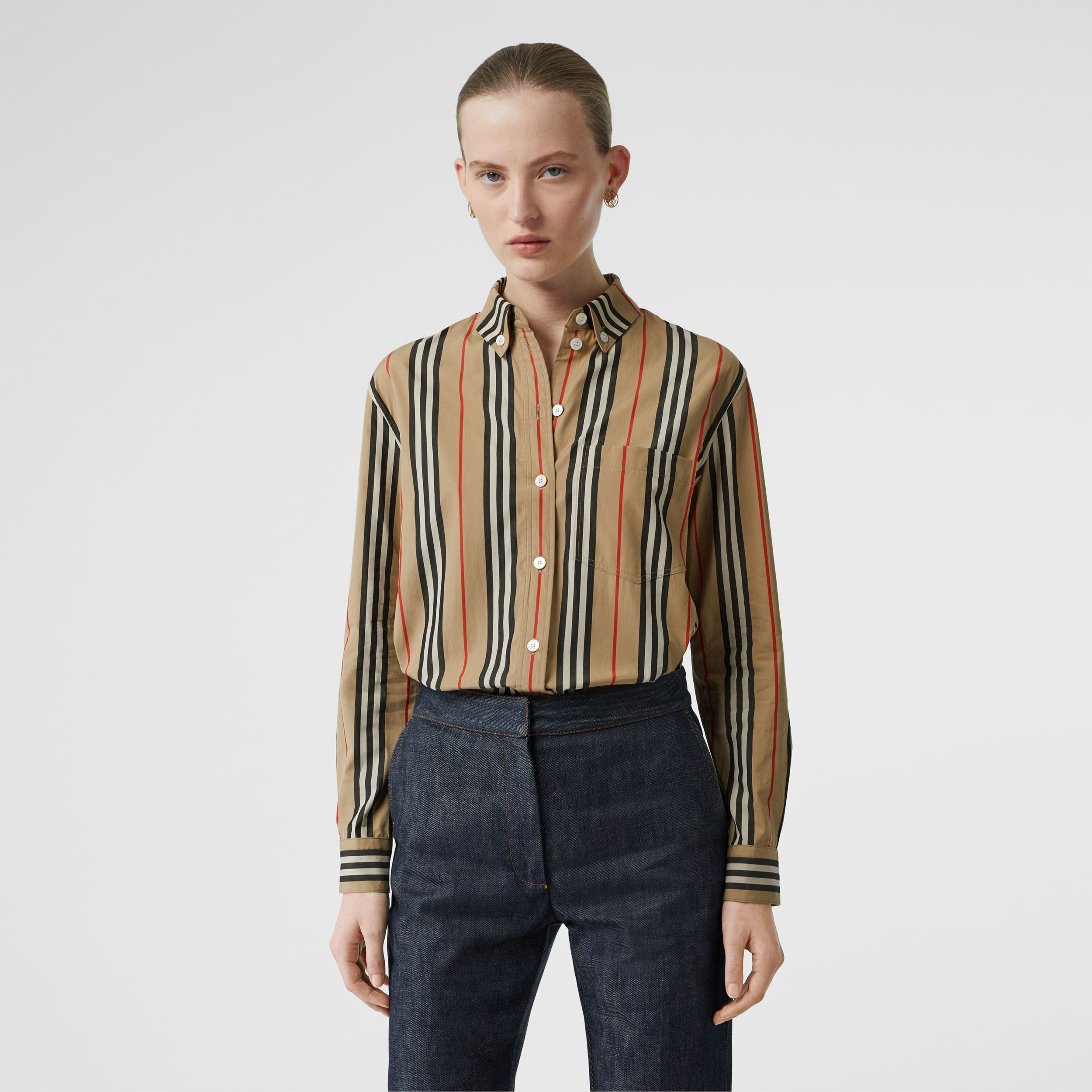 Button-down Collar Icon Stripe Cotton Shirt in Archive Beige - Women | Burberry Australia - 1