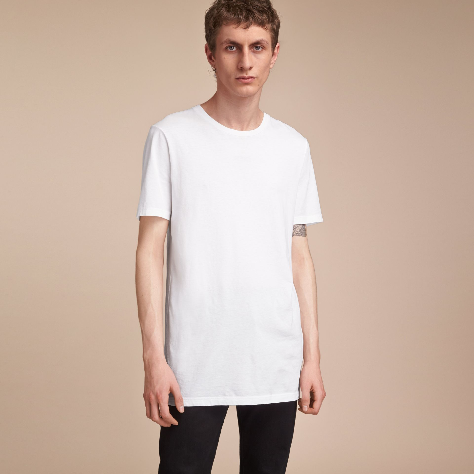 Cotton Jersey Long T-shirt - Men | Burberry Canada - gallery image 1
